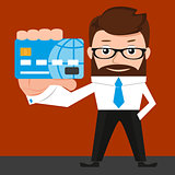 Lucky businessman is presenting a credit card. Conceptual illustration.