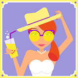 Flat redhair woman wearing yellow retro sunglasses and hat.