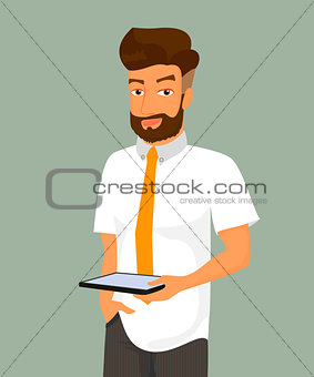 Man holds a tablet pc in his hand.
