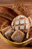 Group of different bread's type on wooden table