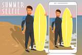 Selfie of hipster wearing diving suit with yellow surfboard.