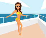 Brunette woman wearing yellow swimsuit is posing on the yacht.
