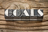 goals word in metal type