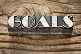 goals word in metal type