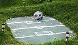 Landscape decoration football field with ball of flowers