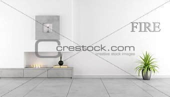 Minimalist interior with fireplace