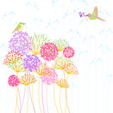 Colorful Hummingbird and Flower