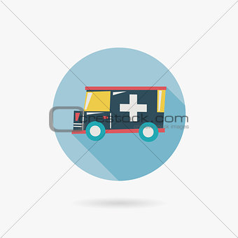 ambulance Flat long shadow icon