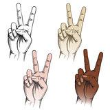 Victory fingers gesture set