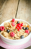 Wholegrain granola with fresh berries