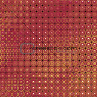 3d glossy abstract tiled bubble background in orange red