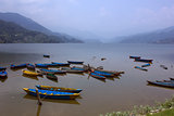 Boats at a lake in Nepal