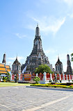 The Temple of Dawn Wat Arun and a beautiful blue sky in Bangkok,