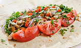 Lavash with chicken and vegetables