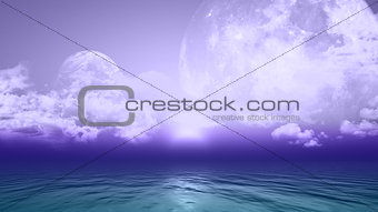 3D background with planets and sea