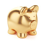 Golden piggybank isolated