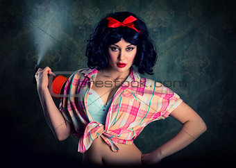 Pin-up girl holding spray bottle