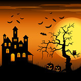 Halloween haunted castle with bats and tree background