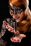 Gorgeous redhead woman singing