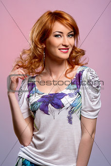 Beautiful redhead young woman smiling