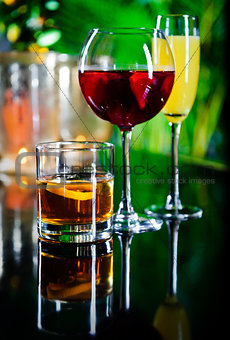 Three different beverages