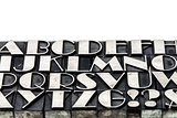 alphabet abstract in metal type
