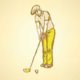 Sketch golfer