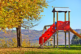 Slide on empty playground.