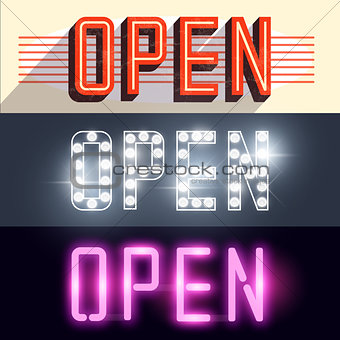 Open Vector Signs