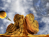 Alien Rock with at sky background