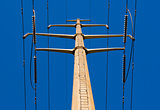 Looking up electrical tower