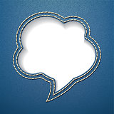 Speech bubble on jeans background