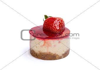 Cake with fresh strawberry on white background