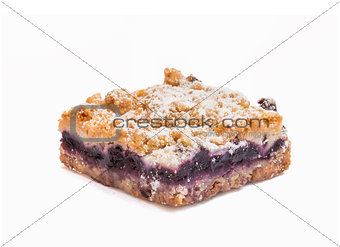 Blueberry pie on white background