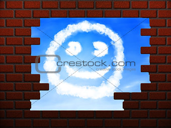 Smile cloud in hole in brick wall
