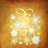 Snowflake gift box grunge background