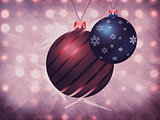 Two Christmas balls on grunge background
