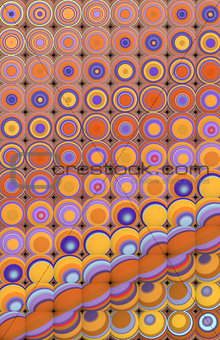 3d abstract tiled mosaic background in yellow purple orange
