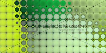 3d abstract tiled mosaic background in multiple green yellow