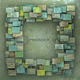 3d green square tile grunge pattern on green grungy wall