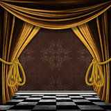 Vintage background with gold curtains