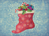 Vintage Christmas sock on blue background