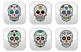 Mexican sugar skull, Dia de los Muertos buttons set on white background