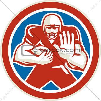 American Football Player Fend Off Circle Retro