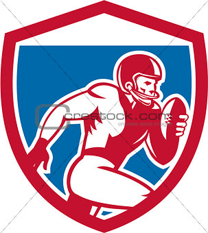 American Football Player Running Shield Retro
