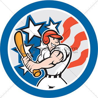 American Baseball Player Batting Circle Cartoon