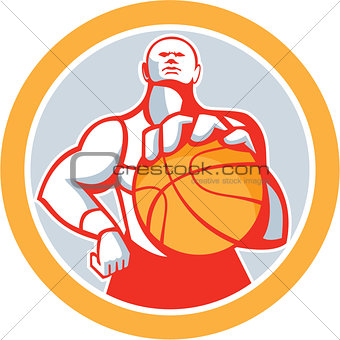 Basketball Player With Ball Circle Retro