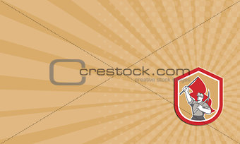 Business card Coal Miner Hardhat Pick Axe Flag Shield