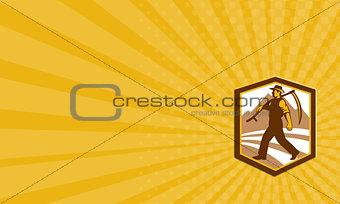 Business card Organic Farmer Walking Holding Scythe Retro