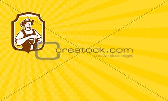 Business card  Organic Farmer Shovel Shield Retro